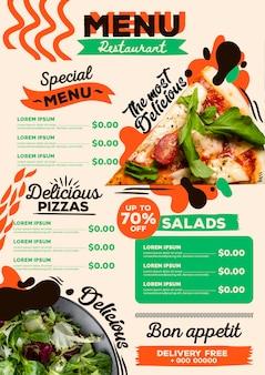 Tema do menu do restaurante digital