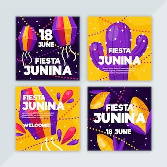 Tema do modelo de coleção de cartão de festa junina