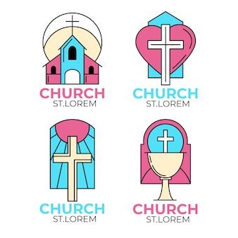 Tema do modelo de coleção de logotipo de igreja