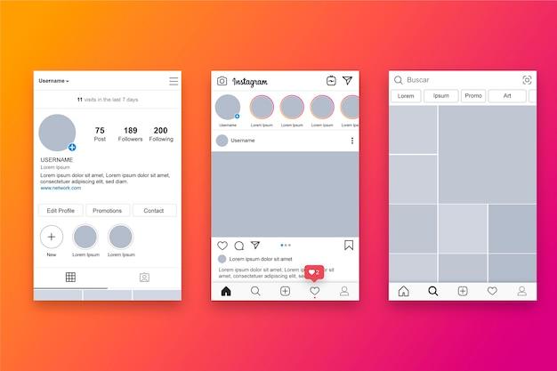 Tema do modelo de interface de perfil do instagram