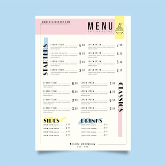 Tema do modelo de menu de restaurante