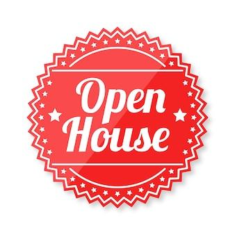 Tema do rótulo de casa aberta