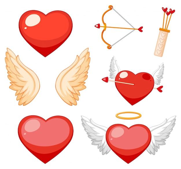 Tema dos namorados com corações e asas