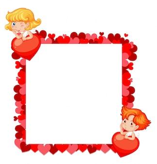 Tema dos namorados com corações vermelhos e anjos