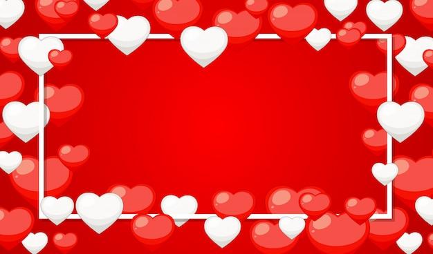 Tema dos namorados com corações vermelhos e brancos