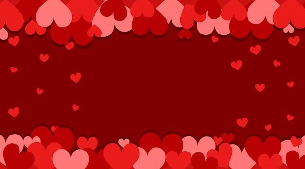 Tema dos namorados com corações vermelhos e rosa