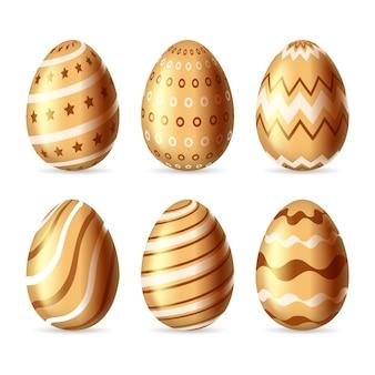 Tema dourado da coleção do ovo do dia da páscoa