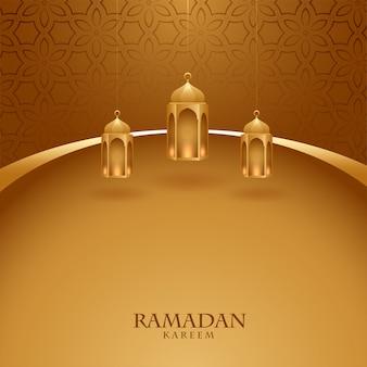 Tema dourado elegante festival ramadan kareem cartão