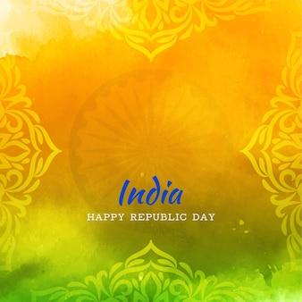 Tema elegante artístico da bandeira indiana, fundo elegante do dia da república