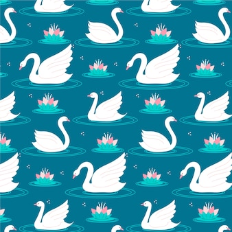 Tema elegante da coleção do teste padrão da cisne