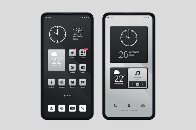 Tema elegante da tela inicial para smartphone