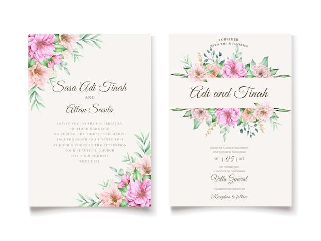 Tema elegante do convite de casamento da flor de cerejeira