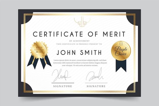 Tema elegante para o modelo de certificado