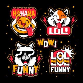 Tema engraçado do pacote de adesivos lol