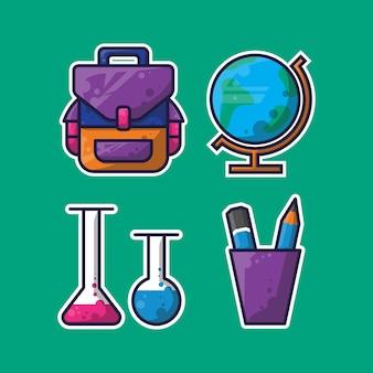 Tema escolar de design simples e adesivos para crianças