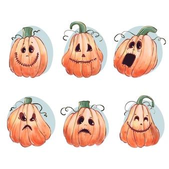 Tema feliz do conjunto de abóbora de halloween