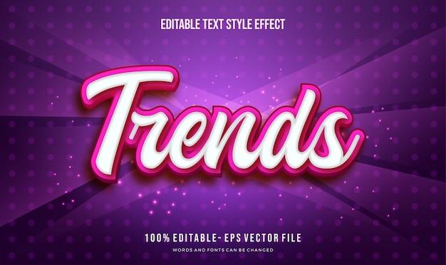 Tema fofo da tendência com efeito de estilo de texto editável de sombra