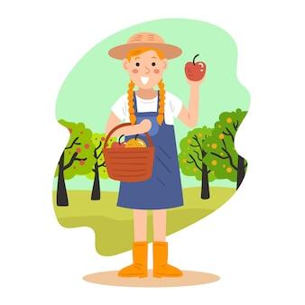 Tema ilustrado da agricultura orgânica