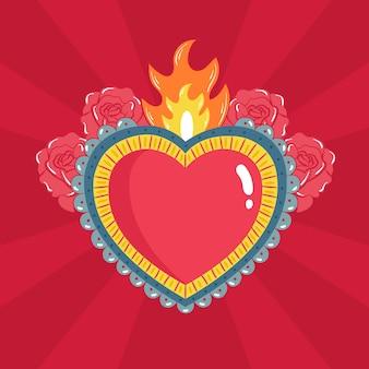 Tema ilustrado de coração sagrado