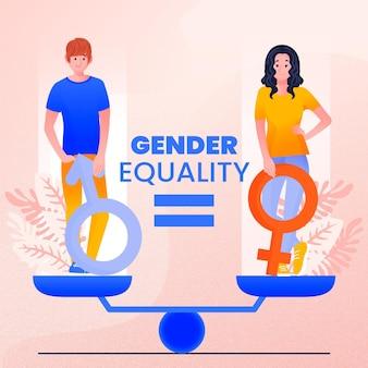 Tema ilustrado de igualdade de gênero