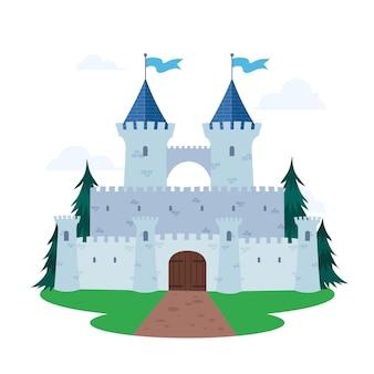 Tema ilustrado do castelo de conto de fadas