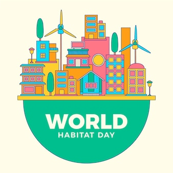 Tema ilustrado do dia mundial do habitat