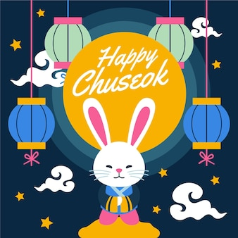 Tema ilustrado do festival chuseok