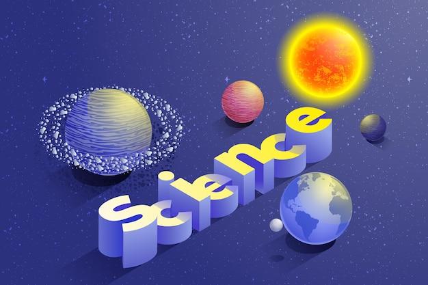 Tema ilustrado palavra ciência