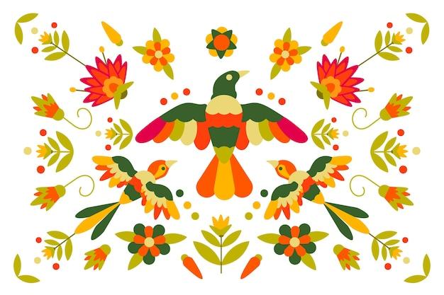 Tema mexicano colorido de design plano para papel de parede