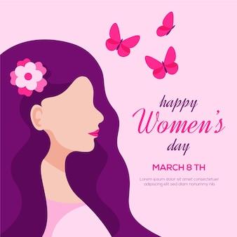 Tema moderno da celebração do dia das mulheres de design plano