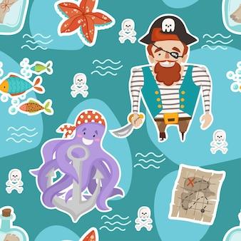 Tema namor de padrão uniforme com desenhos animados piratas, polvos, estrelas do mar e mapas do tesouro