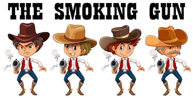 Tema ocidental com ilustração de armas de tiro de cowboy