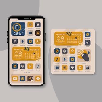 Tema orgânico da tela inicial para smartphone