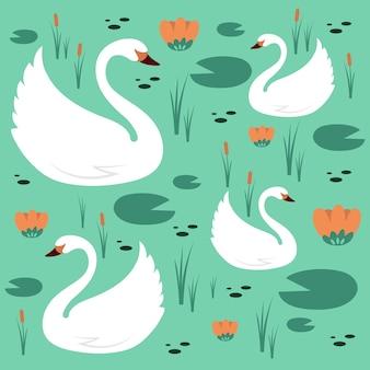 Tema padrão de cisne elegante