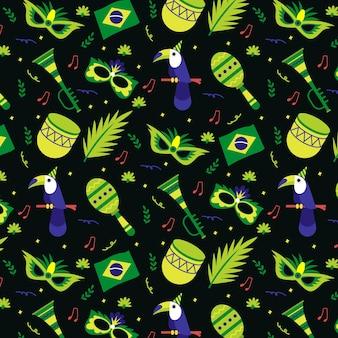 Tema padrão de design plano para o carnaval brasileiro