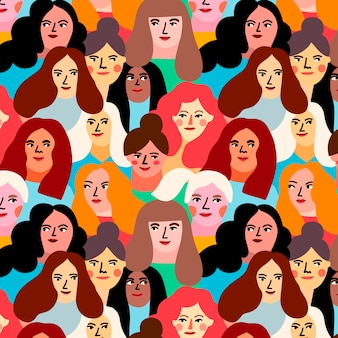 Tema para o padrão de dia das mulheres com rostos de mulheres