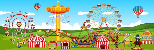 Tema parque de diversões paisagem cena panorama vista estilo cartoon
