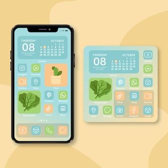 Tema pastel da tela inicial para smartphone