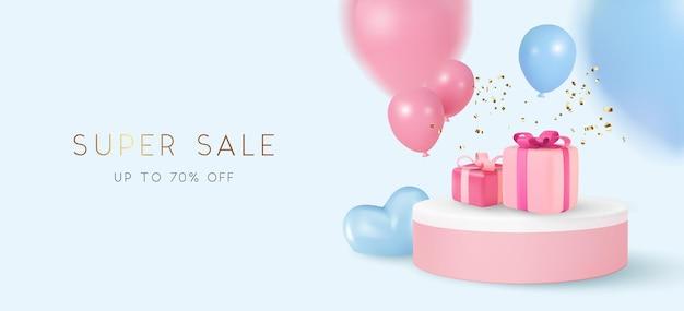 Tema pastel de banner de venda com caixa de presente e balões