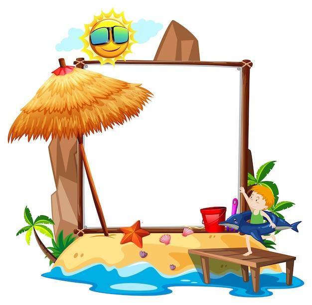 Tema summer beach com banner vazio isolado no fundo branco