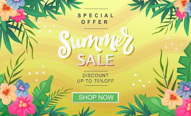 Tema tropical amarelo do banner de venda de verão