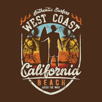 Temas de surf, praia da costa oeste, praia da califórnia,