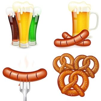 Temas do oktoberfest com cerveja e lanche