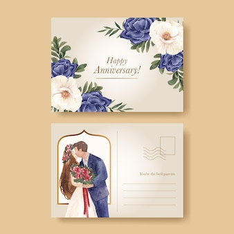 Tempalte de cartão postal com conceito de casamento marinho vermelho, estilo aquarela