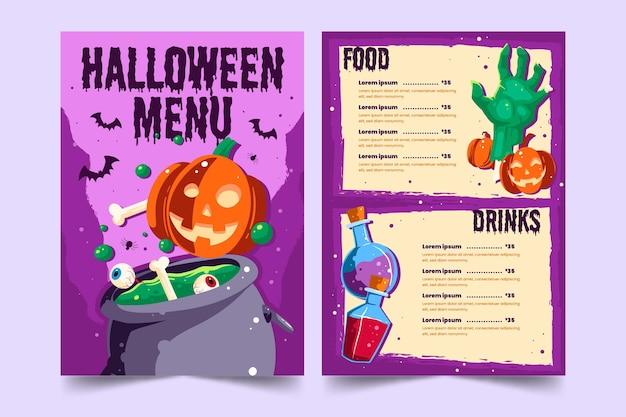 Tempalte de menu de halloween desenhado à mão