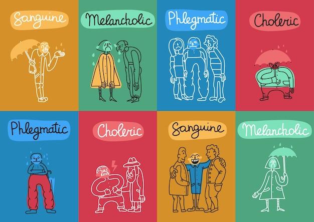 Temperamento 8 cartões de ilustração colorida definidos com 4 tipos de personalidade fundamentais nomes símbolos abstratos isolados