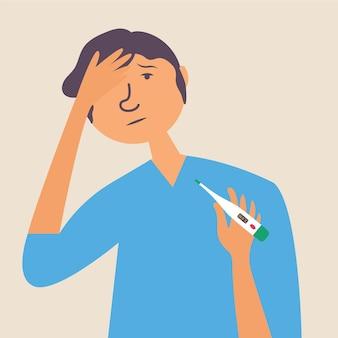 Temperatura corporal elevada em uma dor de cabeça de homem