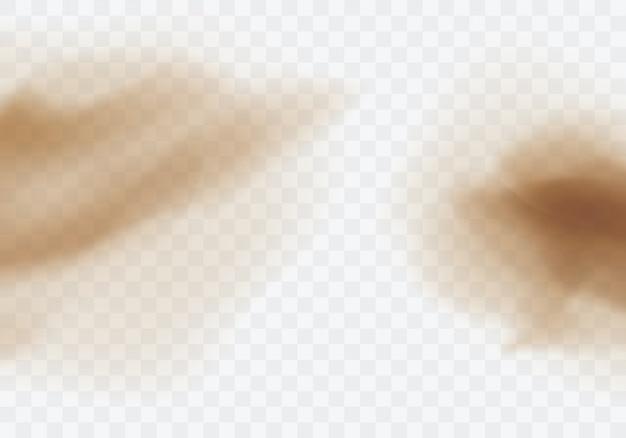 Tempestade de areia do deserto, nuvem empoeirada marrom transparente