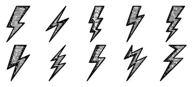Tempestade de eletricidade de doodle desenhado à mão