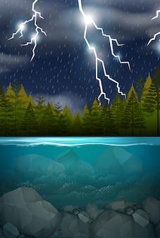 Tempestade de raios madeira cena do lago